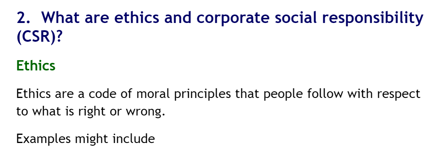 What are ethics and corporate social responsibility?